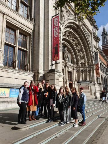 Fashion students in front of Mary Quant exhibition