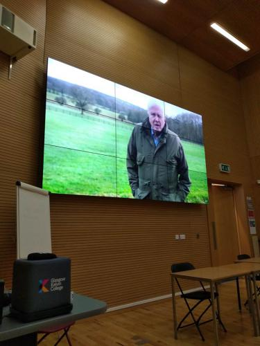 David Attenborough on large screen