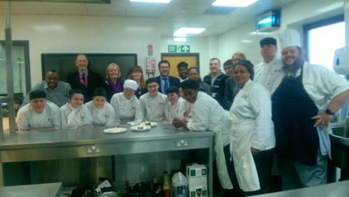 French Education Representatives with professional cookery students