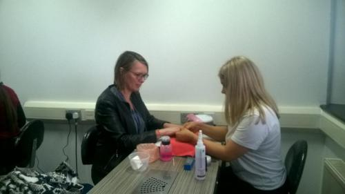 French Education Representatives having nails done