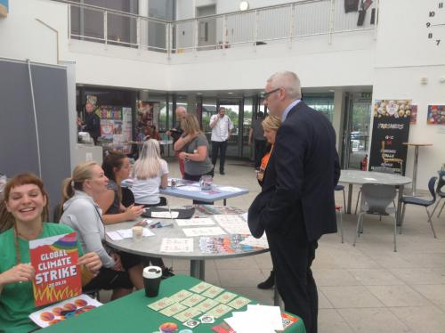 Derek Smeall visiting stalls at Freshers week