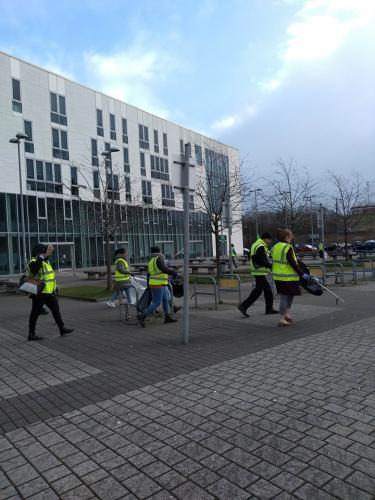 students litter picking
