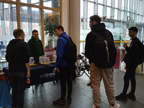 students at sustrans stall