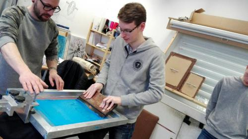 HND TV Students screenprinting Crew Tshirts