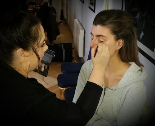 model having eye make up applied