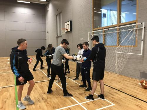 Students boxing training