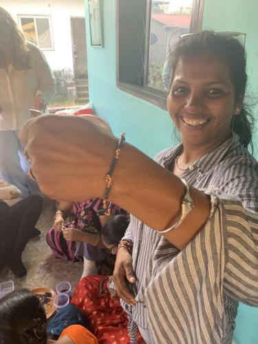 student showing jewellery creation
