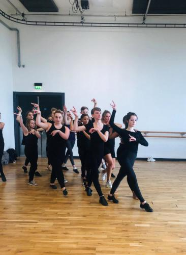 Musical Theatre students learning dance movements