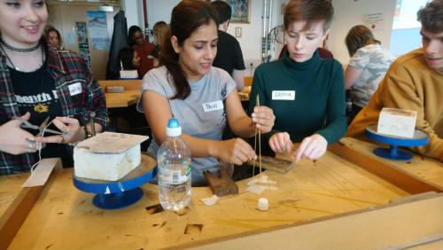 NC Jewellery students with spaghetti and marshmllows