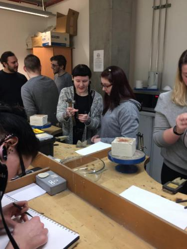 Students trying jewellery making