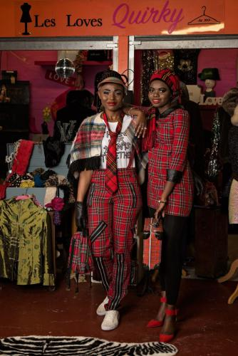 Models in red tartan outfits