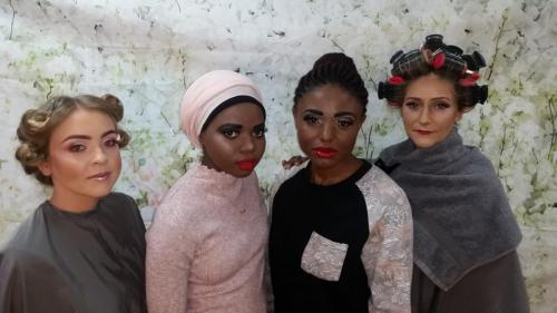 Models with their make up done