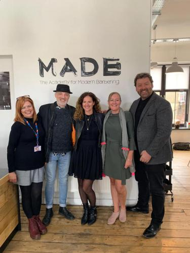 Tracy Leavy and visitors to MADE academy