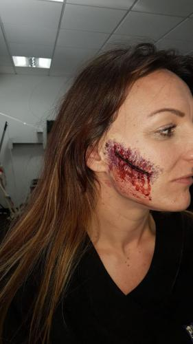 fake gaping wound on face