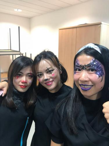students with painted faces