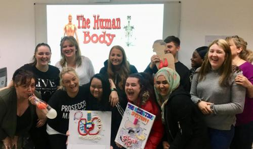Student group taking part in The Human Body unit