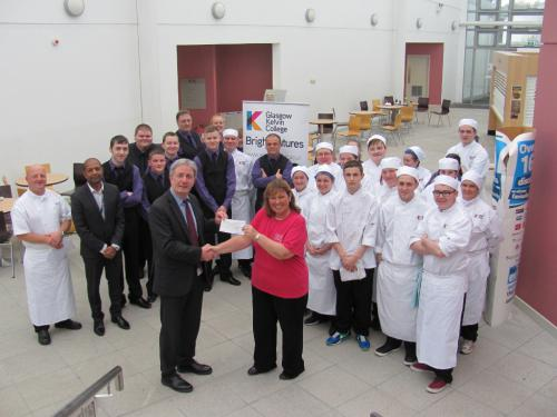 The donation was presented by Eddie Docherty, Head of Faculty for Business and Service Industries