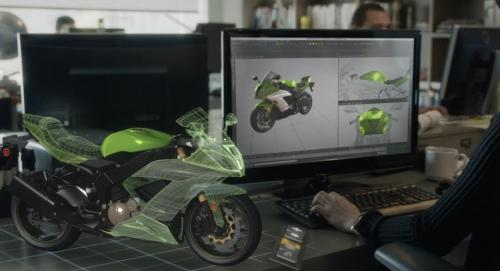 CAD motorcycle design on screen