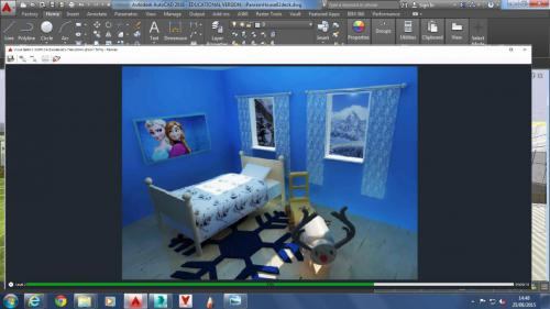 CAD bedroom design on screen