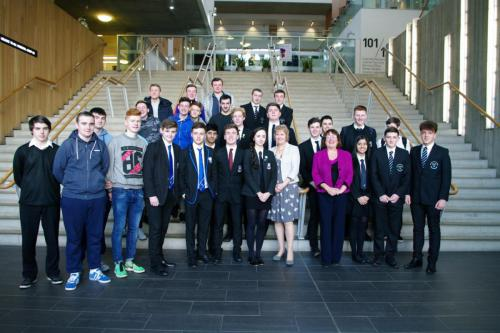 Cabinet Secretary for Fair Work, Skills and Training, Roseanna Cunningham MSP and Minister for Youth and Women's Employment, Annabelle Ewing MSP pictured with school pupils