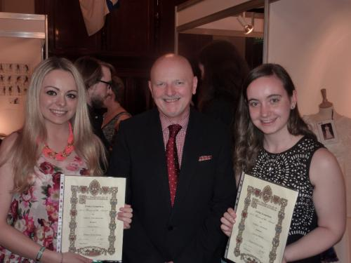 Catriona Ramsay and Chelsea Joslyn, winning Fashion students, are pictured here with proud Principal, Alan Sherry.