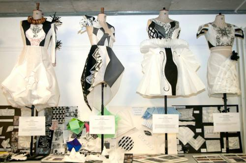 Black and white outfits on tailors dummies