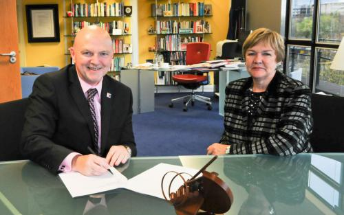 Principal and Vice-Chancellor Professor Pamela Gillies CBE signed a Strategic Partnership Agreement with Alan Sherry, Principal of Glasgow Kelvin College