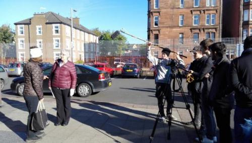 Filming taking place at Glasgow Kelvin