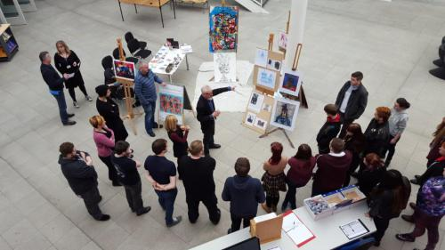 Overhead shot of exhibition