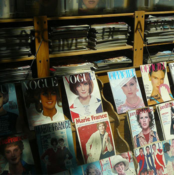 Fashion Magazines on display
