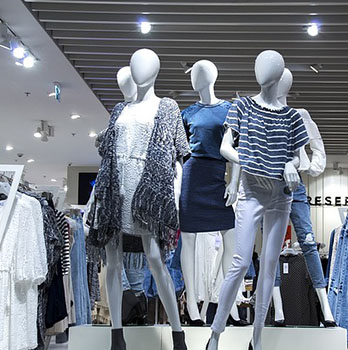 Shop dummies with clothes on display