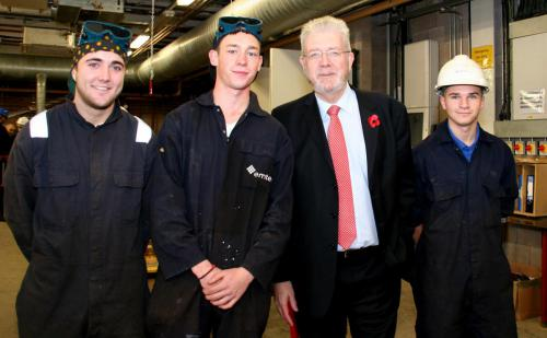 Students Max Thomas and Ross Donnelly pictured here to the left with Mike Russell MSP