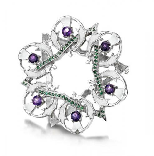 thistle broach with purple stones