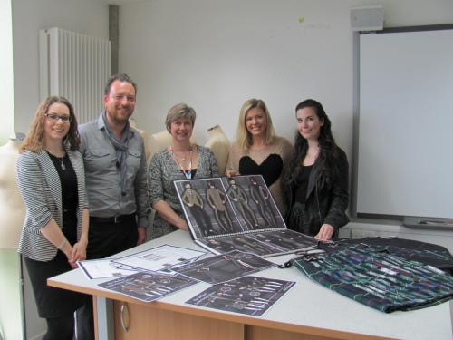 Pictured here with Siobhan's designs are, Victoria Fothergill and Carl Bartlett of Lectra, Kay Muir of Glasgow Kelvin College, Siobhan Mackenzie and Alison Ratcliffe