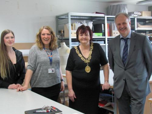 Poppy Taylor, Technician – Fashion; Sandra Thomson, Lecturer in Fashion Design & Manufacture; Lord Provost Sadie Docherty; and Alan Inglis, Vice Principal – Curriculum