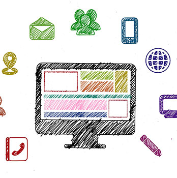 Crayon drawing of screen and icons