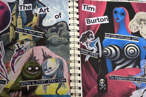 Graphic drawing in Tim Burton style
