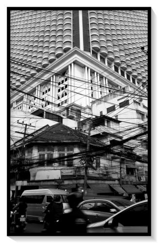Building with telephone wires