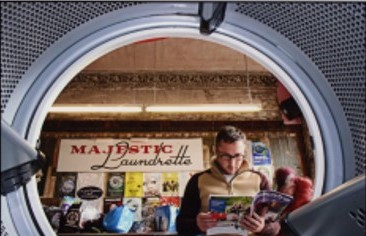 Man reading magazine