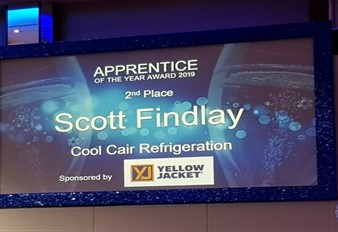 slide on screen with apprentices name