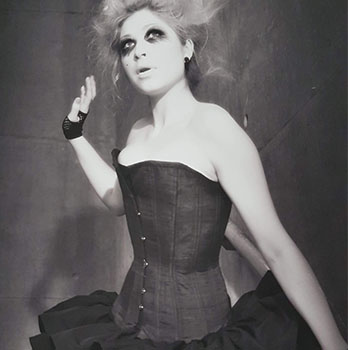 Black and white photo, girl in corset