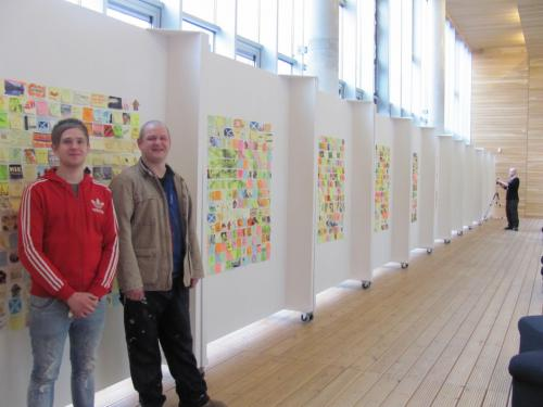 Preparing for the opening of their 'Ayeright!' Exhibition on Friday 7th March