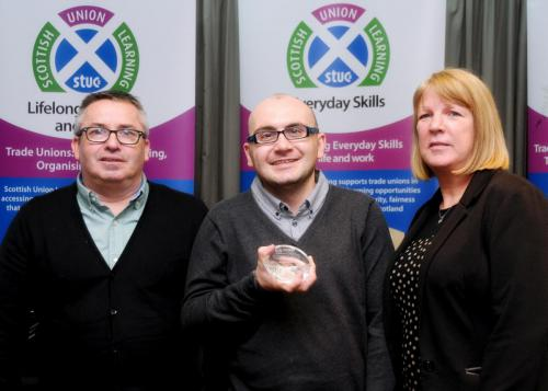 Alasdair is pictured here with Paul Fee, CWU Learning Rep and June Gillies, Glasgow Kelvin College Tutor. Photo courtesy of Louis Flood, through Scottish Union Learning.
