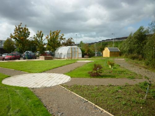 Paths, grass and poly tunnel