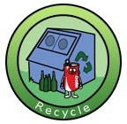 Recycle logo shows recycling bin