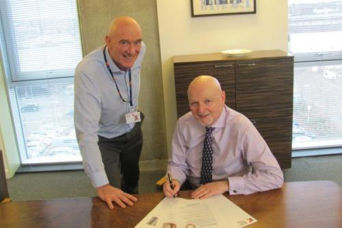Alan Sherry Signing Sustainable Development Goals Accord