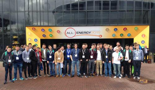 Students from Glasgow Kelvin College visiting the All-Energy 2015 exhibition at SECC, Glasgow.