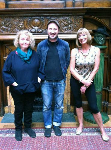 Alice McMurragh, Hazel Nagl and Nicholas Forbes at the Glasgow Art Club.